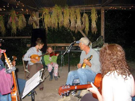 Evening Jam Session - All Ages Welcome! (That's our organic garlic curing in the background.)