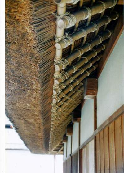 Japanese Roof(Thatch roof with bamboo poles, once common natural building materials in Japan)