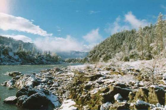 Klamath Snowfall (A fresh snowfall on the Klamath River, happens only a few times in the winter)